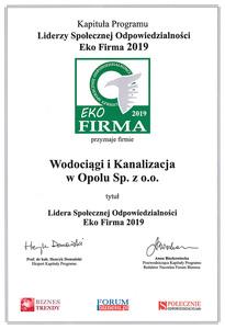 Galeria Certyfikat EKO FIRMA 2019